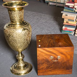 Large Brass Urn with Mahogany Cellarette
