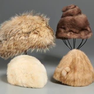 Group vintage fur hats