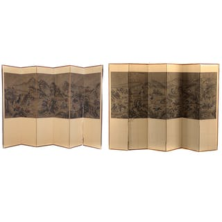 Two Chinese Folding Screens