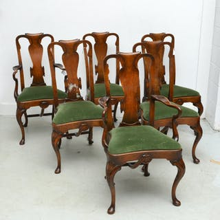 (6) George II style burl inlaid dining chairs