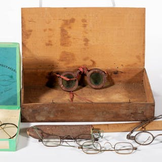 ASSORTED EYE GLASSES / SPECTACLES ARTICLES, LOT OF SIX.