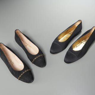 (2) pairs of Chanel black flat shoes