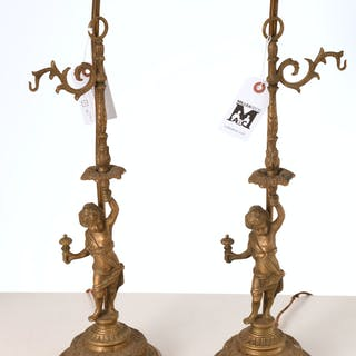 Pair Louis XV style bronze putto lamps