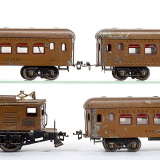 IVES NO. 3236R STANDARD GAUGE LOCOMOTIVE WITH PASSENGER CARS, LOT OF FOUR