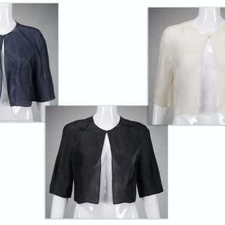 Group of Carmen Marc Valvo couture bolero shrugs