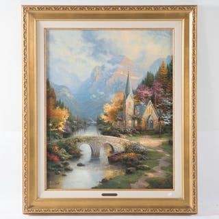 "Thomas Kinkade. ""The Mountain Chapel"""