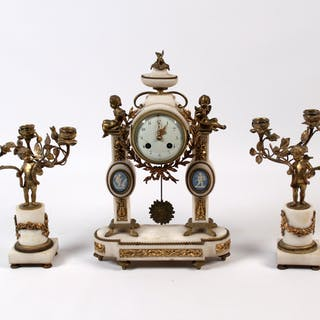 FRENCH 3 PC. CLOCK GARNITURE