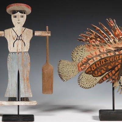 (2) FOLK ART DECORATIVE ITEMS