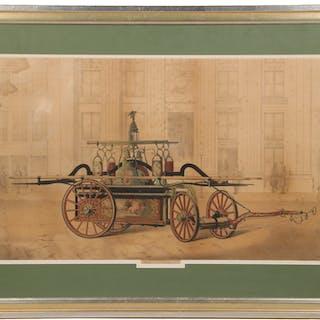 RARE LITHOGRAPH OF HUNNEMAN BOSTON PUMPER FIRE ENGINE, CIRCA 1850