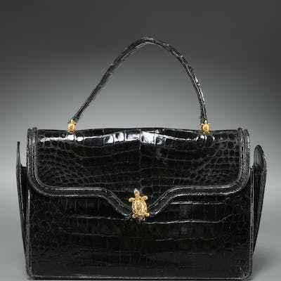 Saks Fifth Avenue black crocodile handbag