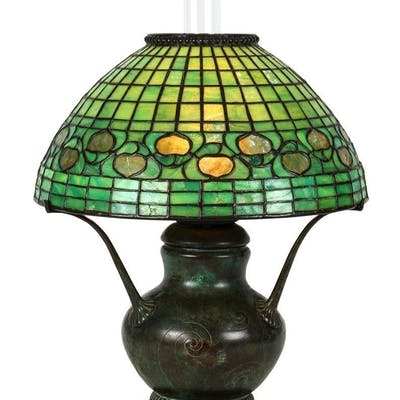 Tiffany Studios patinated bronze and leaded glass Acorn Lamp