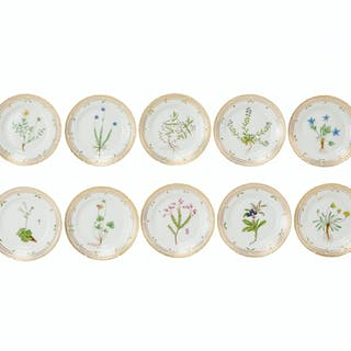 "Ten Royal Copenhagen ""Flora Danica"" salad plates"