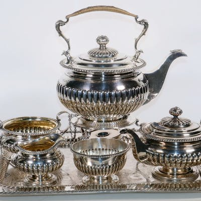 (5 PC) STERLING BEVERAGE SERVICE PLUS SILVER PLATED TRAY