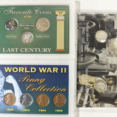 3 US COIN SETS-WWII PENNY COLLECTION, FAVORITE | Barnebys