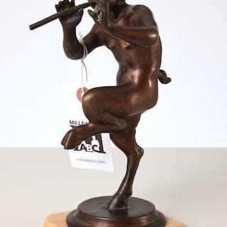 After Clodion, dancing faun bronze