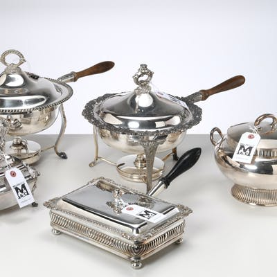 Group (5) silver plated serving pieces