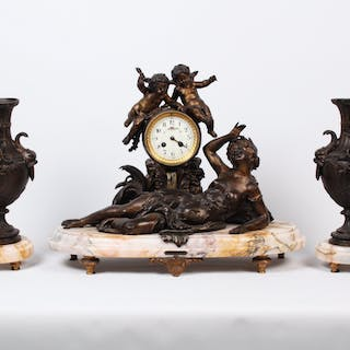 FR. PATINATED METAL AND MARBLE CLOCK SET