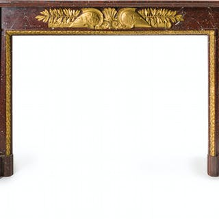 An Empire-style rouge marble mantel