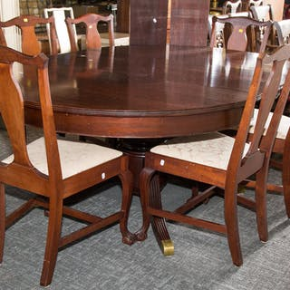 Neoclassical Style Mahogany Dining Table & Chairs
