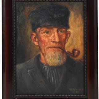 W. Petersen, vintage portrait painting