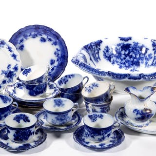 ENGLISH STAFFORDSHIRE FLOW BLUE TRANSFER-PRINTED IRONSTONE ARTICLES, LOT OF 27