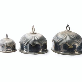 Three English Sheffield plate turkey domes