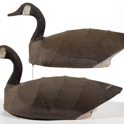 FOLK ART CARVED AND PAINTED PAIR OF CANADIAN GOOSE DECOYS
