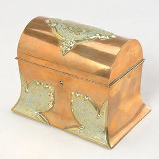 Engraved brass jewel casket