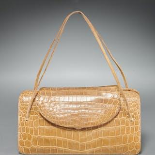 Vintage Judith Leiber tan crocodile handbag