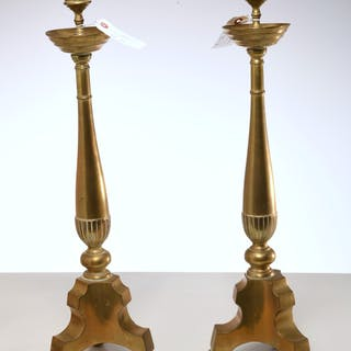 Pair large Baroque style brass candlesticks
