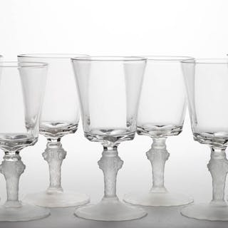 LION - FROSTED GOBLETS, LOT OF SEVEN