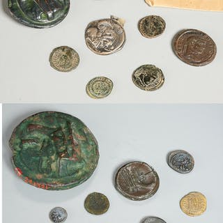 Group Roman and Roman style coins, ex-museum