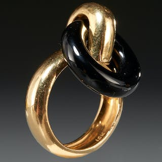 18k gold and onyx loop ring