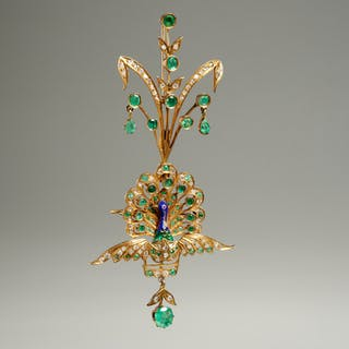Antique 14k gold two piece peacock brooch