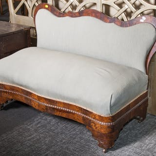 American Empire Style Mahogany Slipper Bench
