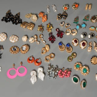 Group of vintage costume jewelry earrings