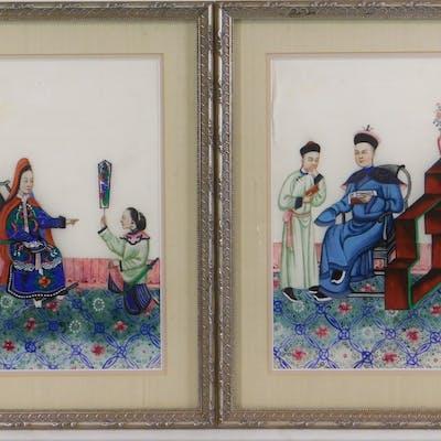 PR 19C Chinese Interior Genre Scene Pith Paintings