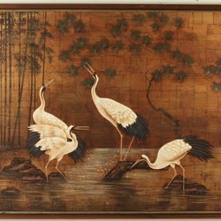 LARGE DECORATIVE FRAMED O/C PAINTING OF CRANES
