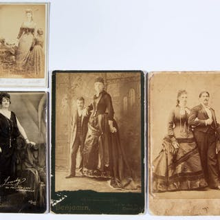 CIRCUS / SIDESHOW PERFORMER CABINET CARD / PHOTOGRAPHIC IMAGES, LOT OF FOUR