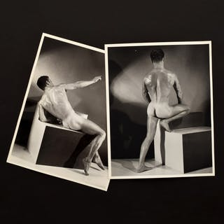 2 Large Bruce Bellas Nude Male Physique Photos - Bruce Bellas (1909-1974)