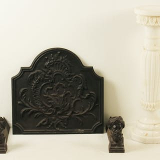 4 PC. LOT; MARBLE PEDESTAL AND IRON ACCESSORIES