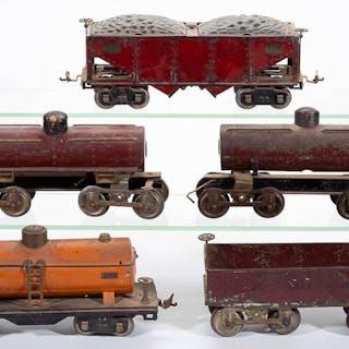 ASSORTED IVES / LIONEL STANDARD GAUGE CARS, LOT OF FIVE