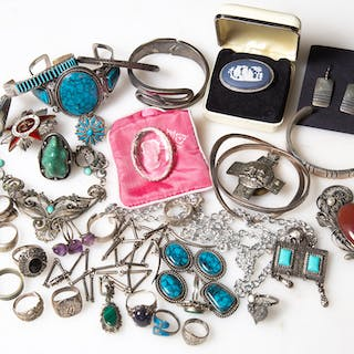 Assortment of Silver & Costume Jewelry