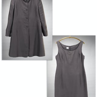 Armani Collezioni gray silk coat & dress