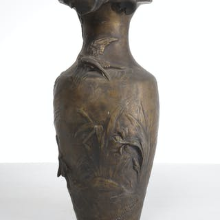 Auguste Moreau (after), Art Nouveau relief vase