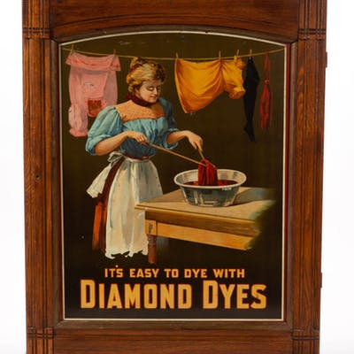 DIAMOND DYES ADVERTISING STORE DISPLAY CABINET