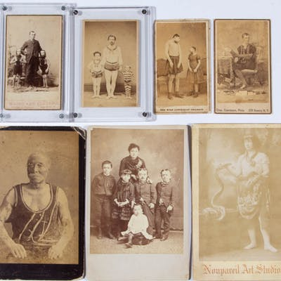 CIRCUS / SIDESHOW PERFORMER CARTES DE VISITE / CABINET CARDS, LOT OF 13