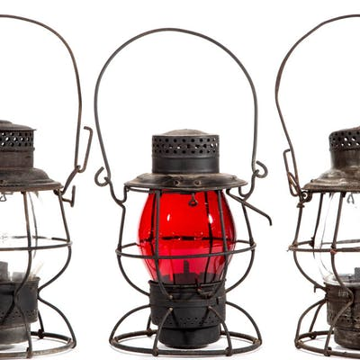 """ASSORTED MANUFACTURERS SHEET-IRON """"P. R. R."""" RAILROAD LANTERN AND"""