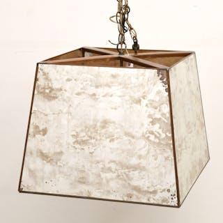 Designer oxidized mirror shade chandelier
