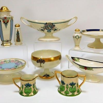 14PC American Belleek Porcelain Table Articles